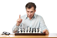 Man playing chess isolated Stock Image