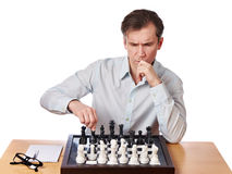 Man playing chess isolated Royalty Free Stock Image