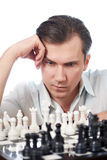 Man playing chess isolated Stock Photos