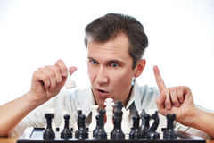 Man playing chess isolated Stock Photography