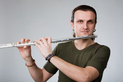 Man  playing a clarinet Royalty Free Stock Photography