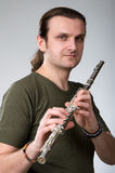 Man  playing a clarinet Stock Photo