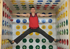 Man playing in climber twister Royalty Free Stock Photography