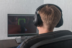 Man playing computer games Stock Photos