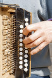 Man playing concertina. Man playing old grunge concertina outside in spring Royalty Free Stock Photos