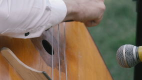 A man playing the contrabass stock video