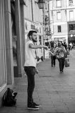 Man playing  with diabolo in the street. MULHOUSE - France - 1 June 2017 - man playing  with diabolo in the street Royalty Free Stock Photo