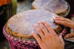 Man playing the djembe Royalty Free Stock Images