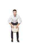Man playing the djembe standing Royalty Free Stock Photos