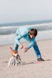 Man playing with dog Stock Photos
