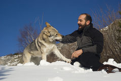 Man playing with dog Stock Images