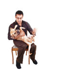 Man playing with dog. Stock Photos