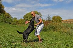 Man is playing with dog Royalty Free Stock Photos
