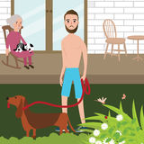 Man playing with dog shirt while old woman sitting in rock chair behind Royalty Free Stock Photos