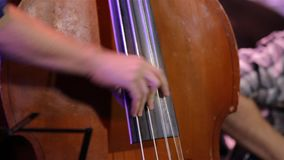 Man Playing Double Bass. Male hands playing old shabby brown double bass