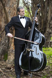 Man playing the double bass in park Stock Image