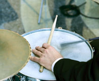 Man playing on drum Stock Photo