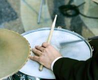 Man playing on drum Stock Photo