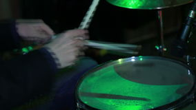 Man playing on Drum Rock perfomance stock footage
