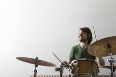 Man Playing Drum Set Stock Photo