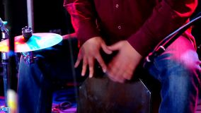 Man playing the drum stock footage