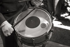 Man playing drum with sticks Royalty Free Stock Photo