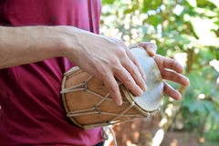 Man playing on drum Royalty Free Stock Photography