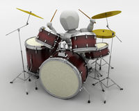 Man playing the drums Stock Photos