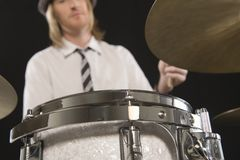Man Playing Drums Royalty Free Stock Photos