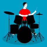 Man playing drums cartoon  Stock Photos