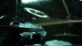 Man Playing On Drums. Drummer Playing On Drums On Rock Concert. Slow Motion Effect stock video