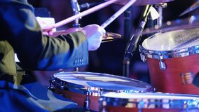A man playing drums at the jazz concert. Back view stock video