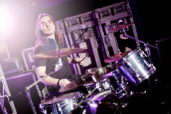 Man playing drums live. Concept live music Royalty Free Stock Photo