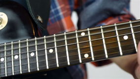 Man Playing On Electric Guitar stock video footage
