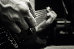 Man playing on electric guitar, music concept royalty free stock photos