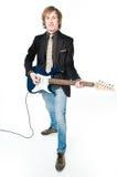 Man playing electro guitar. Isolated on white background Royalty Free Stock Image