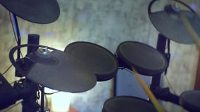 Man playing at electronic drums stock video footage