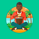 Man playing ethnic drum vector illustration. Royalty Free Stock Photography