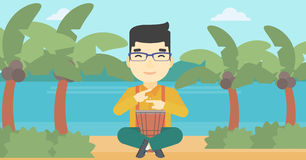 Man playing ethnic drum vector illustration. Stock Photography