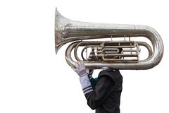 A man playing a Euphonium isolated on white. Saved with clipping Royalty Free Stock Photos