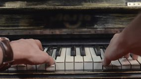 Man playing fast melody on piano by both hands. Musician. Talent. Black and white keys. stock video