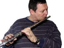 Man playing flute Royalty Free Stock Photo