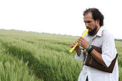 Man playing flute Stock Photos