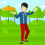 Man playing flying disc. Royalty Free Stock Photo