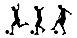 Man playing football silhouettes set 1 Stock Image