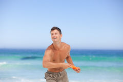 Man playing frisbee Stock Photography