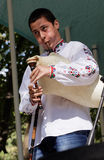 Man playing gaida, the Bulgarian bagpipe Stock Image