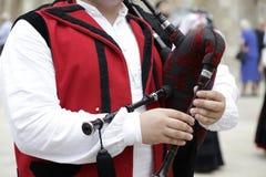 Man playing the Galician bagpipe Royalty Free Stock Photos