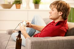 Man playing game Stock Photo