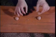 Man playing game with nutshells and marble on a wooden table stock video